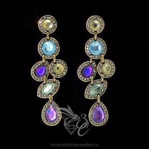 Серьги с разноцветными камнями, очень красивые!