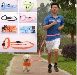 Новый Поводок для бега с собакой, голубой, полиэстер, 2.5*150 см