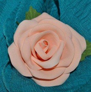 Роза из фоамирана, кораллового цвета,3 шт