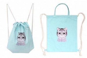 Тканевая Сумка-рюкзак с ручками голубая с котенком, 40*35 см