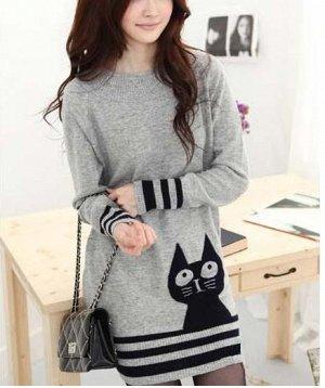 Новый свитер или туника вязаная с котом, на 42-44 р.