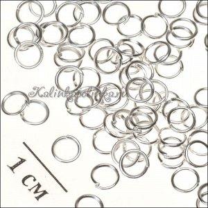 Колечки соединительные железные, гальваническое покрытие серебряного цвета, р-р 4х0.5мм.