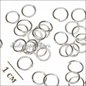 Колечки соединительные железные, гальваническое покрытие цвета серебро, р-р 6х0.7мм