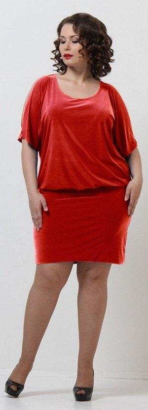 Платье красный,  вискоза 66%, полиэстер 29%, эластан 5%. Эффектное платье с глубоким полукруглым вырезом горловины и рукавами средней длины. Верхняя часть платья довольно свободного объема, с напуском