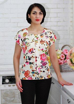 """блуза Блуза А38  (новинки) Блуза из атласа """"Жара"""" (набивной). Цвет - цветы на кремовом фоне Жара. Атлас """"Жара"""" - ткань сатинового переплетения. очень легкая, приятная на ощупь. По внешним признакам о"""