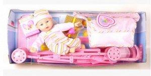 Кукла с коляской, сумкой и бутылочкой