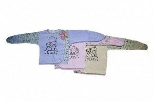 Распашонка Детская распошонка с царапками (3 кнопки, аппликация), интерлок-пенье. Размер по месяцам