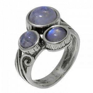 Кольцо DENO серебро с лунными камнями