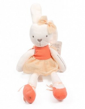 Мягкая игрушка зайчик-балерина персиковый