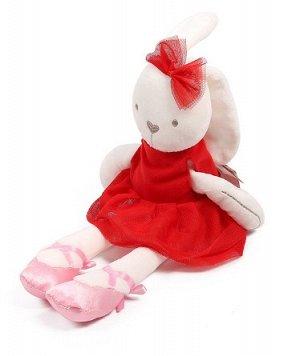 Мягкая игрушка зайчик-балерина красный