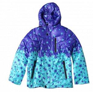 Куртка осенняя цвет аква+фиолетовый