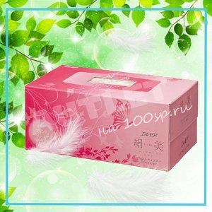 """Бумажные двухслойные салфетки ELLEMOI """"Kinu-bi"""" с шелком 200 шт (1 пачка) розовая"""