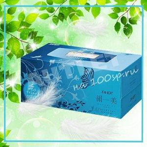 """Бумажные двухслойные салфетки ELLEMOI """"Kinu-bi"""" с шелком 200 шт (1 пачка) голубая"""