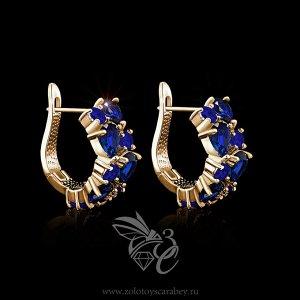 Серьги с синими цирконами на золоте. Крупные.