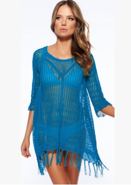 Вязаная пляжная блузка с бахромой