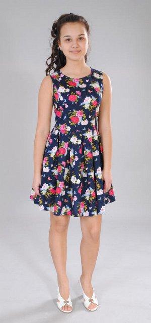 Платье синий (розы)