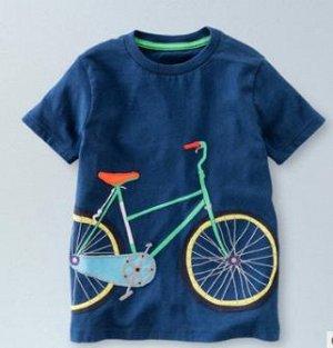 Футболка с велосипедом темно-синяя
