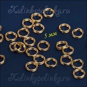 Колечки соединительные двойные железные, с гальваническим покрытием цвета русское золото, р-р. 6х0.5мм.