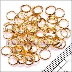 Колечки соединительные двойные железные, с гальваническим покрытием цвета русское золото, р-р. 08х0.6мм.