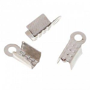 УЦЕНКА (пожелтение поверхности). Концевики для шнуров и лент, железо, цвет платина, ширина 4мм