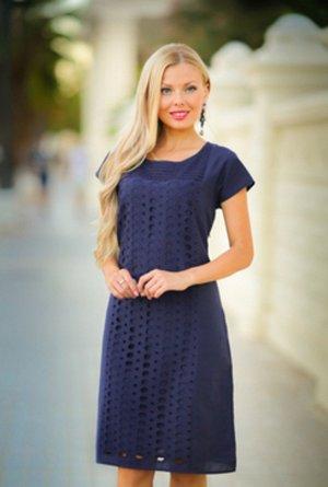 Новинки.коллекция 19 года  Платье цвет синий на 48 размер х/б