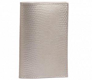 Обложка для паспорта, натуральная кожа, серебряная
