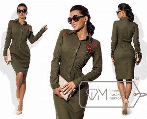Продам офисное платье - цвета хаки, размер 44-46