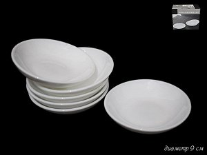 Набор Набор из 6 блюдец 9см.WHITE в под.уп.(х24) Опаловое стекло  Опаловое стекло