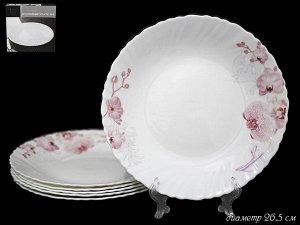 Набор Набор из 6 тарелок 26,5см.ОРХИДЕЯ в под.уп.(х6)Опаловое стекло  Опаловое стекло