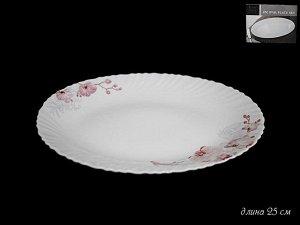 Блюдо Овальное блюдо 25см.ОРХИДЕЯ в под.уп.(х24)Опаловое стекло  Опаловое стекло
