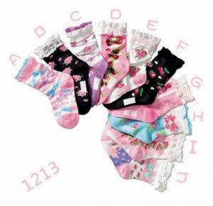 Носки для девочек с цветочками и с волнистым краем