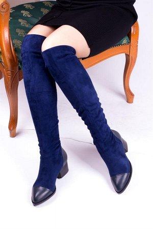 ботфорты Цвет: синий Материал: натуральная кожа + стрейч Подклад: стрейч