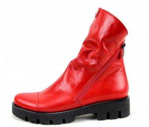 Ботинки кожа красный демисезон