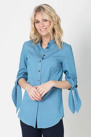скидка! Блуза голубая с декоративными завязками на рукавах