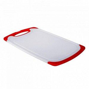 РД-10033 Доска разделочная пластик  (20) белая с красным 40х24см