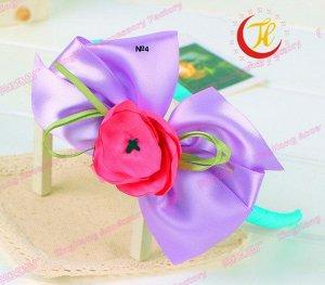 Ободок с бантиком и цветочком