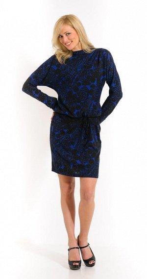 Темно-синее платье на холодное время