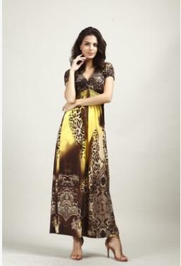 Платье длинное с короткими рукавами