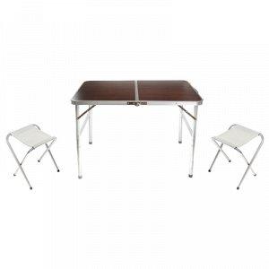 Набор мебели турист, складной (стол 90х60х70 см, 2 стула 28х22х34 см), цвет коричнев
