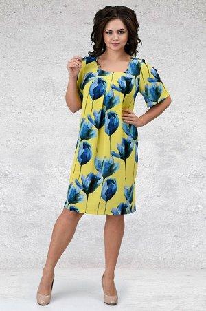 Платье Трикотажное платье миди прямого силуэта. Овальный вырез горловины с защипами, втачной рукав со встречной складкой. Передняя часть платья по всему периметру декорирована встречной складкой. Ориг