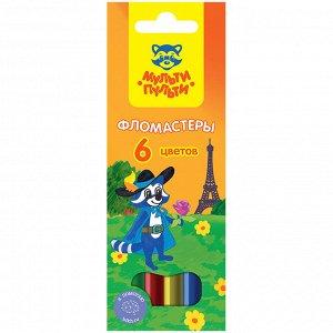 """Фломастеры Мульти-Пульти """"Енот во Франции"""", 06цв., смываемые, картон, европодвес"""