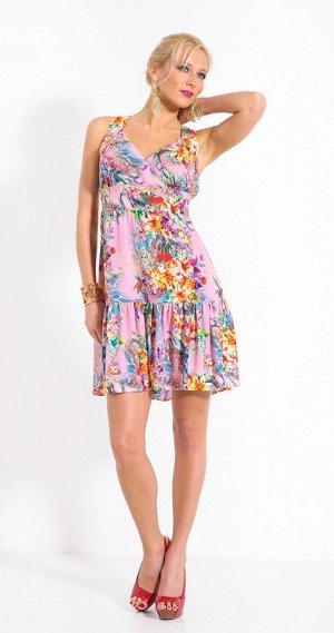 Лёгкий сарафан модного цветочного принта