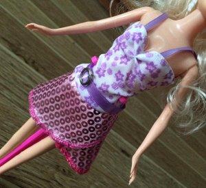 Платье розово-фиолетовое с узорами