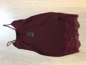 Платье-топ в бельевом стиле цвета марсала