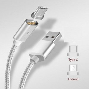 2 в 1:  micro usb + Type C Magnetick  Cable. Магнитный шнур