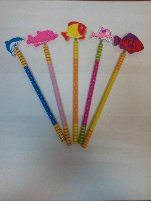 """Простой карандаш с деревянной игрушкой на пружине """"Рыбы 2"""""""