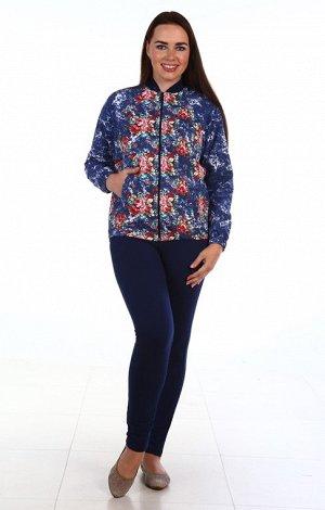"""Куртка Куртка женская """"СВЕТЛАНА"""" Материал: футер 2-х нитка.  синий центр-цветочные рукава"""