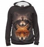 Женское худи  Лиса и енот  FOX-579301-hud-1  , Коллекция Лис