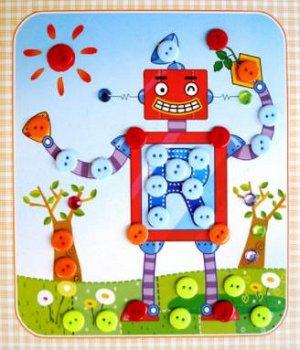 Робот Размер 22*19 см. Пуговицы на клеевой основе.