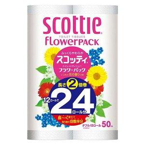 """Мягкая туалетная бумага особоплотной намотки, Crecia """"Scottie FlowerPACK 2"""", двухслойная 12 рул (50м)"""